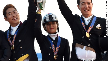 Equestrian Chung won a gold medal in the group dressage equestrian event at the 2014 Asian Games.