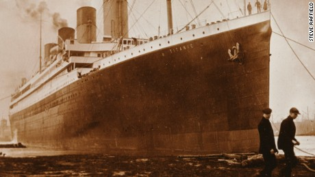A black mark can be seen on the side of Titanic in this newly-revealed photograph. Picture courtesy of Steve Raffield.