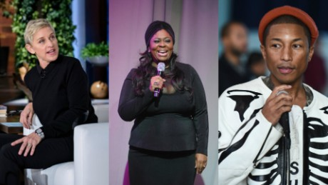 Ellen DeGeneres, left, says Kim Burrell, center, will no longer appear on DeGeneres' show with Pharrell Williams.