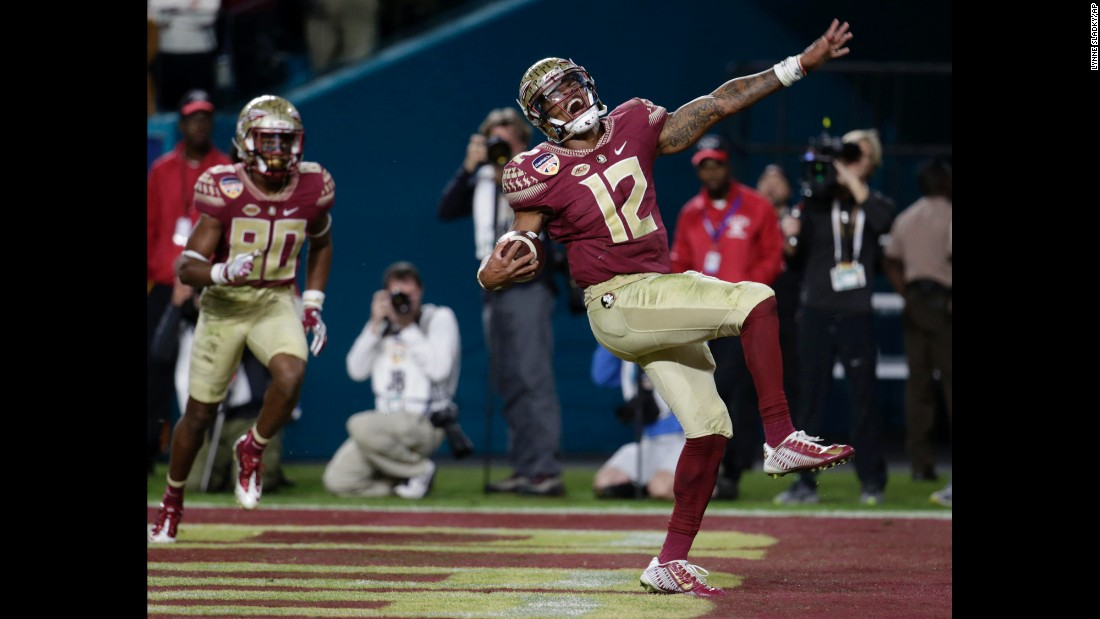 Florida State quarterback Deondre Francois celebrates a touchdown in the Orange Bowl on Friday, December 30. Francois passed for two touchdowns and ran for another as the Seminoles defeated Michigan 33-32.