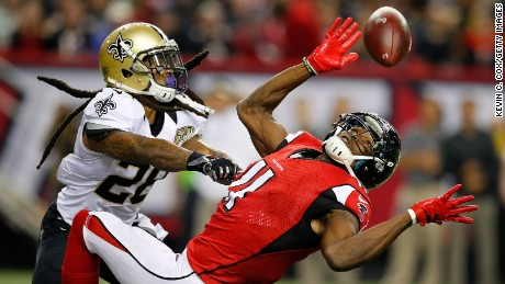 ATLANTA, GA - JANUARY 01: B.W. Webb #28 of the New Orleans Saints breaks up a pass intended for Julio Jones #11 of the Atlanta Falcons during the second half at the Georgia Dome on January 1, 2017 in Atlanta, Georgia. (Photo by Kevin C.  Cox/Getty Images)