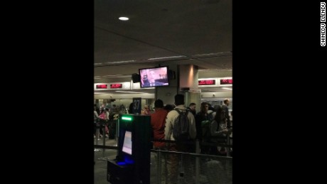Lines form at San Francisco International Airport after US Customs computers go down.