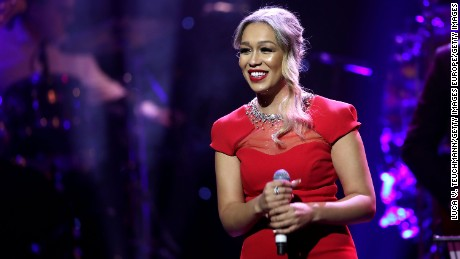 LONDON, ENGLAND - NOVEMBER 27:  Rebecca Ferguson performs on stage during The Magic of Christmas at London Palladium on November 27, 2016 in London, England.  (Photo by Luca V. Teuchmann/Getty Images)