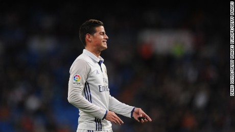 MADRID, SPAIN - NOVEMBER 30:  James Rodriguez of Real Madrid reacts during the Copa del Rey last of 32 match between Real Madrid and Cultural Leonesa at estadio Santiago Bernabeu on November 30, 2016 in Madrid, Spain.  (Photo by Denis Doyle/Getty Images)