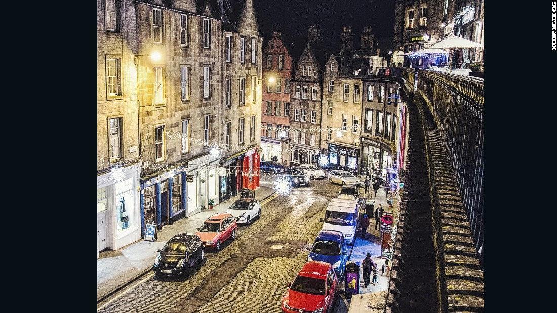 "Ashleigh Gray Instagrammed this picture of Edinburgh, Scotland. ""Edinburgh is magical at night,"" she says, ""Especially in the winter!"""