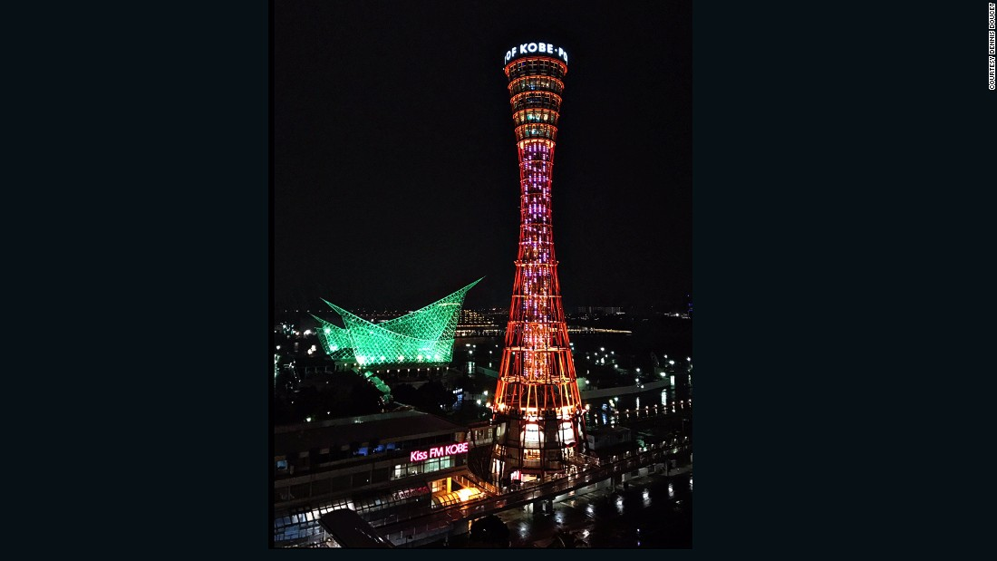 "Twitter-user Dennis Doucet took this photograph of Port Tower, in Kobe, Japan, from his office in downtown Kobe. ""It is the most iconic, identifiable structure in Kobe,"" says Doucet."