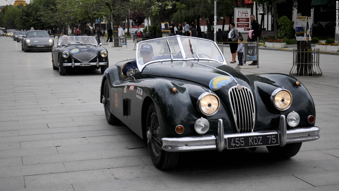 The two-seater sports car Jaguar XK 120 was in production from 1948 to 1954.