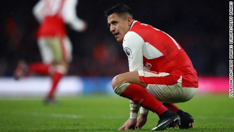LONDON, ENGLAND - JANUARY 01:  Alexis Sanchez of Arsenal reacts during the Premier League match between Arsenal and Crystal Palace at the Emirates Stadium on January 1, 2017 in London, England.  (Photo by Clive Mason/Getty Images)