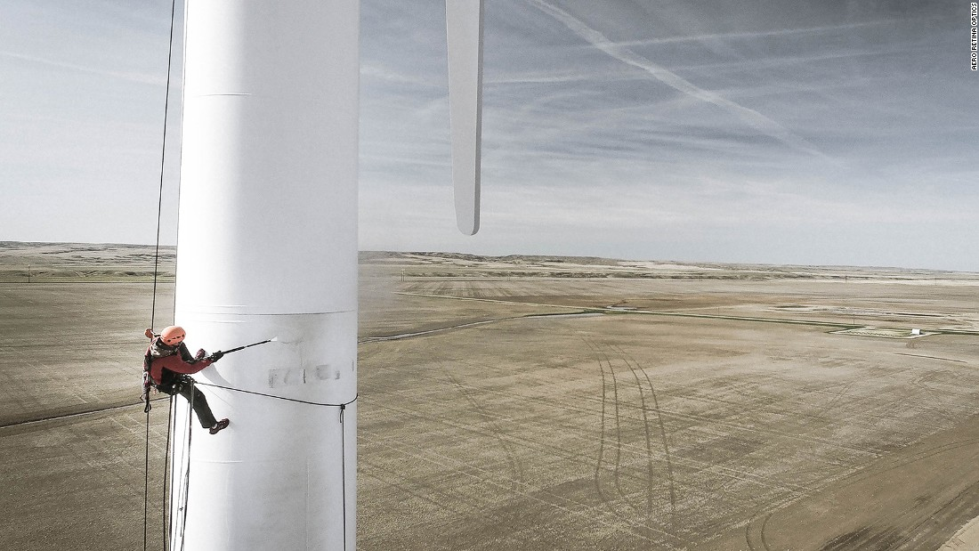 <strong>Turbine worker, Stirling, Alberta: </strong>Landscape is the most popular type of drone photography but Dronestagram says they're receiving more and more shots of people. Dronist Aero Retina Optics captured this image of a worker descending down the side of a wind turbine in Alberta, Canada.