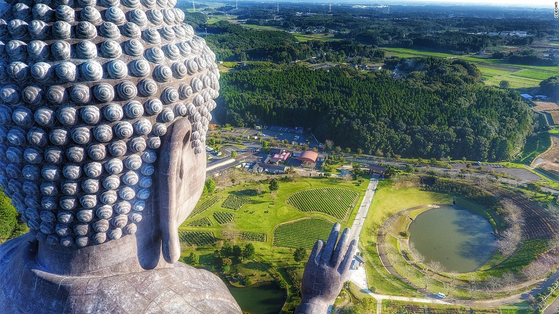 <strong>Big Buddha:</strong> Towering 120 meters above ground, Ushiku Daibutsu, or the big Buddha statue in Ushiku, Japan, is one of the tallest statues in the world. This image was captured by dronist Christian Liechti.
