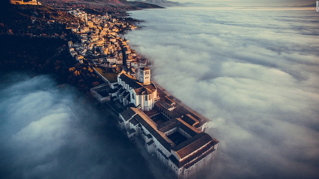 <strong>Basilica of Saint Francis of Assisi, Umbria, Italy: </strong>In terms of media coverage and views worldwide, photographer Francesco Cattuto's picture of this Umbrian church immersed in a sea of fog was the most popular drone shot of the year. It was also the winner of the 2016 International Drone Photography Contest (Travel Category).