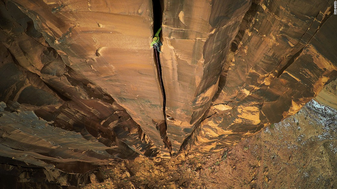 <strong>Rock-climbing: </strong>Captured on a GoPro attached to a DJI Phanton 2 drone, Max Seigal's picture of a rock climber in Moab, Utah was awarded first prize at the 2016 International Drone Photography Contest (Sport Adventure Category).