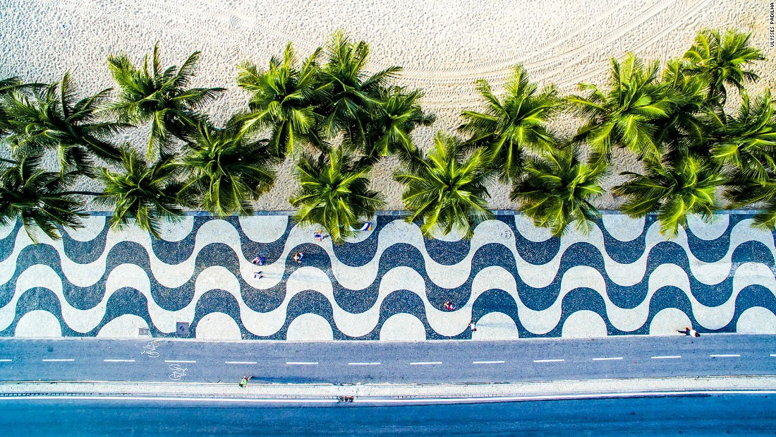 <strong>Copacabana, Rio de Janeiro, Brazil: </strong>Rio-based dronist Ulysses Padilha shows a different aspect of the popular Copacabana beach in this aerial shot.
