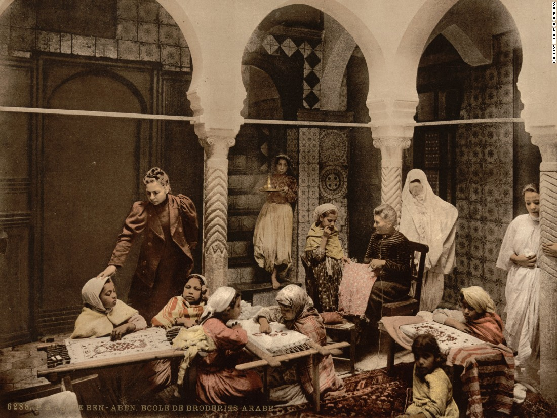 "Of course Europeans and Arab communities did interact, and were not always in friction. Madame Luce's School of Arab Embroidery in Algiers taught local Muslim girls. Frenchwoman Luce and her granddaughters ""were very interested in preserving the traditional Algerian embroidery, which had been disrupted by the French occupation,"" says Arden Alexander of the Library of Congress."