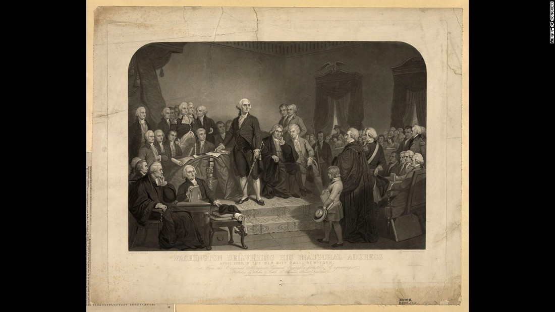 George Washington delivers his inaugural address at New York's Federal Hall in April 1789. It was 13 years after the Declaration of Independence and more than a year and a half after the Constitution was ratified.
