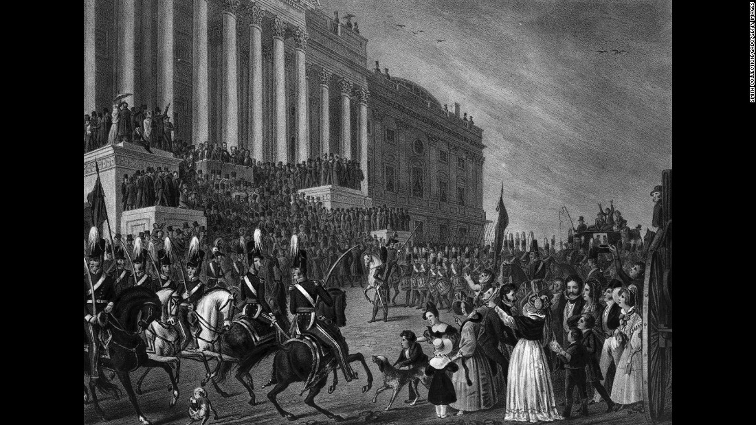 This lithograph shows the inauguration of William Henry Harrison in 1841. Harrison delivered the longest inaugural address in history (about 8,500 words). He caught a cold and died from pneumonia a month later.