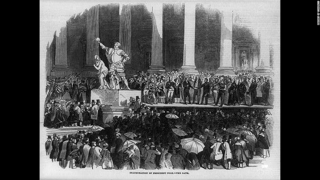 People gather for the inauguration of James K. Polk in 1845. It was the first inauguration ceremony to be reported by telegraph and shown in a newspaper illustration.