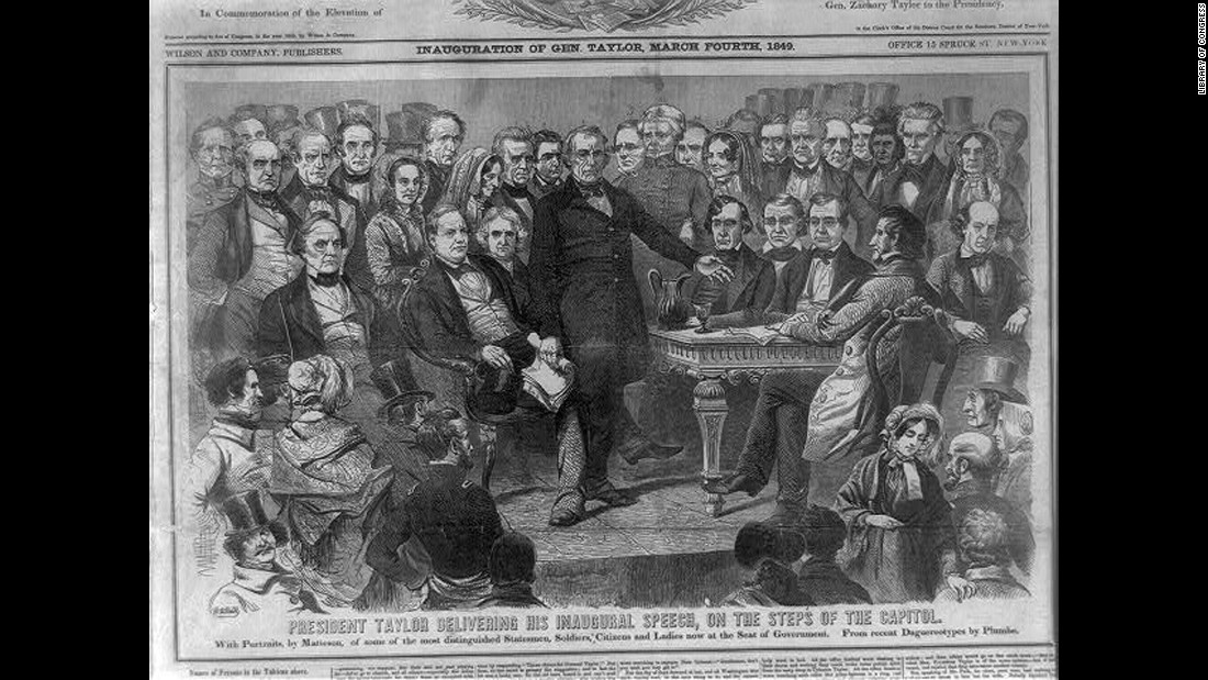 Zachary Taylor delivers his inaugural speech on the steps of the Capitol in 1849.