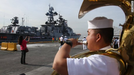 The Russians received a warm welcome in the Philippines, a former US territory and longtime US ally.