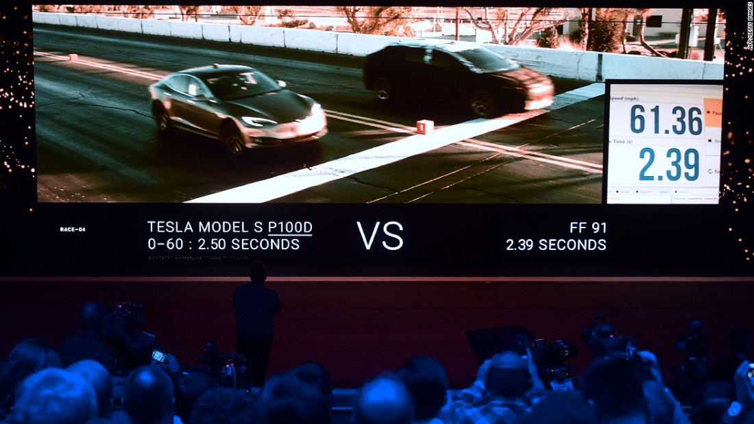 Attendees of the launch watched a video of the FF 91 electric vehicle racing a Tesla Model S. Faraday Future claims the FF91 can go from 0-60 mph in 2.39 seconds, marginally quicker than the Tesla S -- which does it in 2.5 seconds.