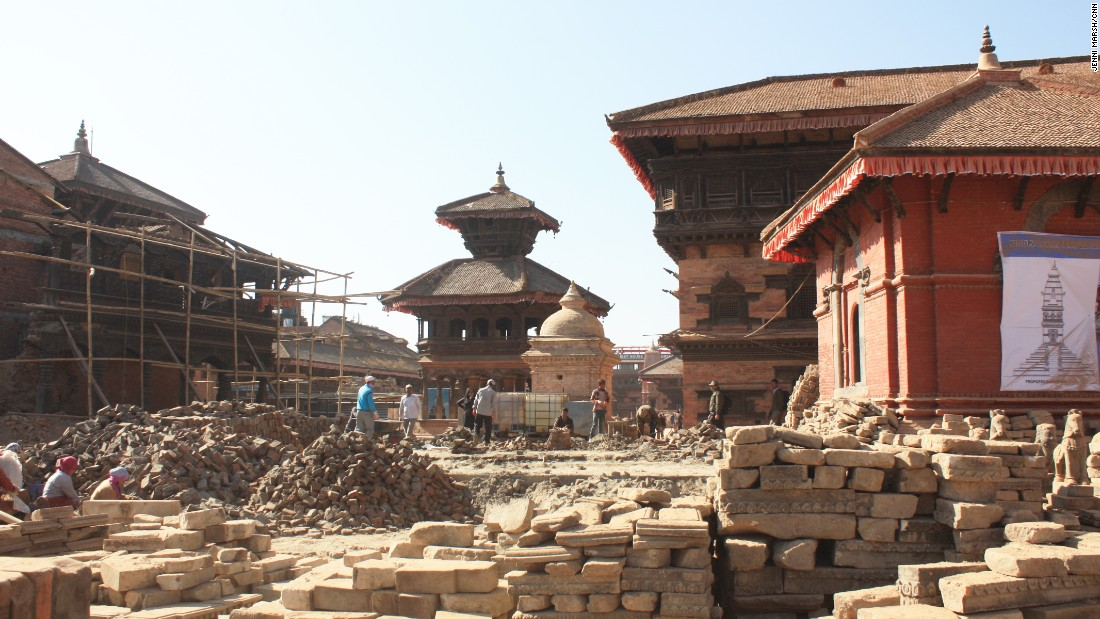 Bhaktapur's Durbar Square was the hardest hit of the three in the Kathmandu Valley. Here, the rubble remains nearly two years after the disaster.