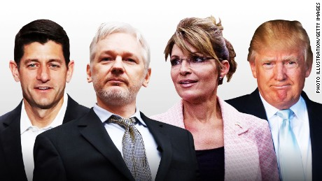 Trump, Palin break with GOP, warm up to Assange