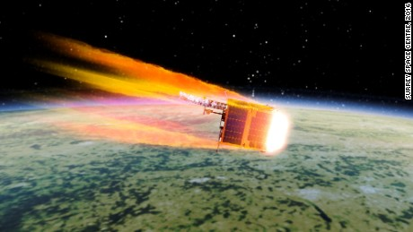 An artist's impression of a satellite burning up in the Earth's atmosphere.