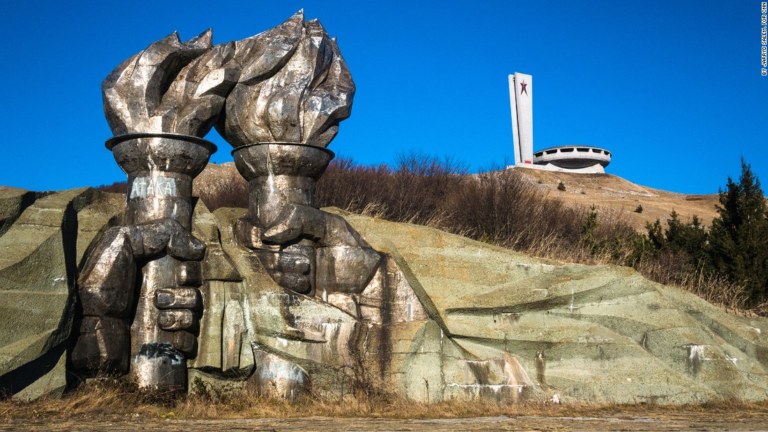 <strong>Iron Fists: </strong>Officially known as the House-Monument of the Bulgarian Communist Party, it lies on top of Mount Buzludzha. The peak's top was leveled by dynamite so that the foundations could be built. At the bottom of the hill two iron fists hold flaming torches.