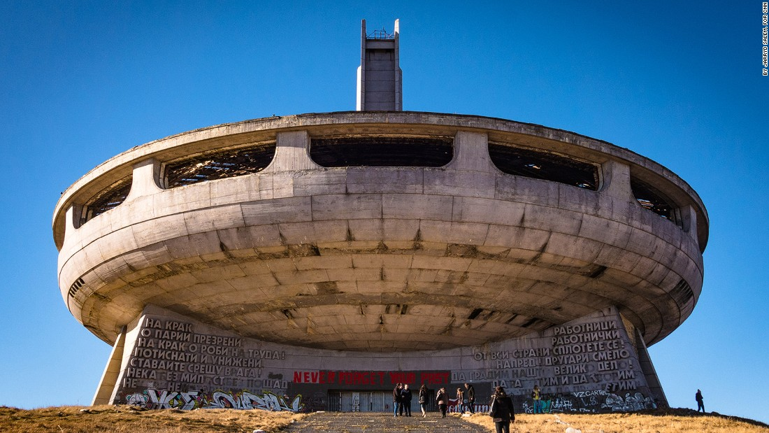 <strong>The Approach: </strong>The walk up to the Buzludzha Monument is a foreboding experience.