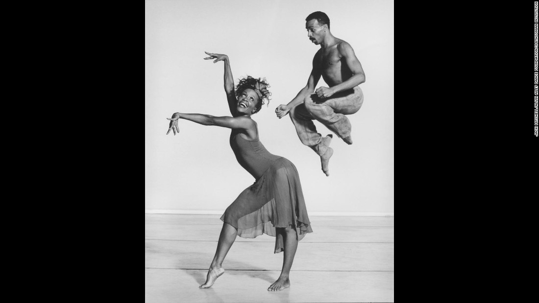 "Renee Robinson and Carl Bailey perform Donald McKayle's ""Rainbow 'Round My Shoulder"" at the Alvin Ailey American Dance Theater in 1989. The dance company is based in New York City."