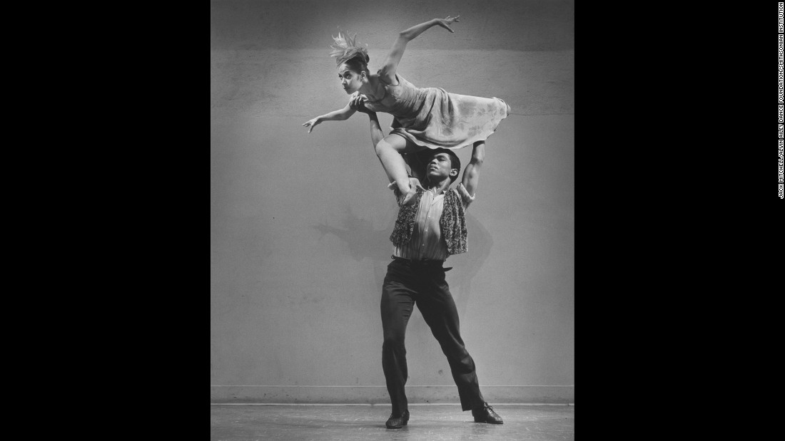 "Ailey lifts de Lavallade in ""Roots of the Blues"" in 1961. ""He's a black man who happens to be an artist that decided he would celebrate his voice -- as multilayered as that is,"" Jamison said. ""I think that's very important to remember, that he was championing what it is to be an artist, what it is to be an African-American artist, what it is to be a man -- you can just keep going on and on and on. And he did it so well."""