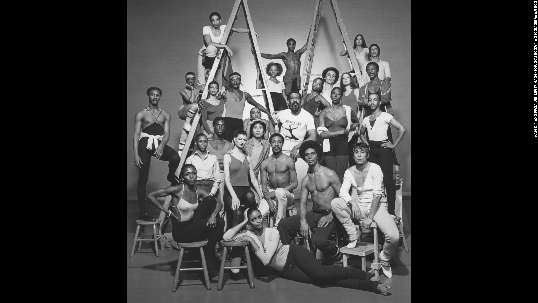 "Ailey is surrounded by his fellow dancers in 1978. He was 58 years old when he died from a rare blood disorder in 1989. ""There's a constant bright light that informs all of us past his death,"" Jamison said. ""He would be 86 now, on January 5, but his light still shines in everything that we do. He's very much alive in us."" The Alvin Ailey Dance Theater is set to begin their 2017 US tour in February."