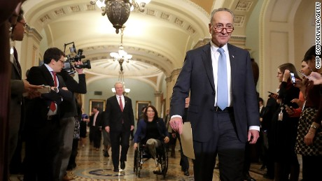 Senate Minority Leader Charles Schumer arrives for a news conference at the US Capitol on January 4, 2017.