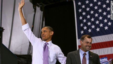 President Barack Obama stands with Rep. Tom Perriello, D-Virginia, during a campaign rally on October 29, 2010, in Charlottesville, Virginia.