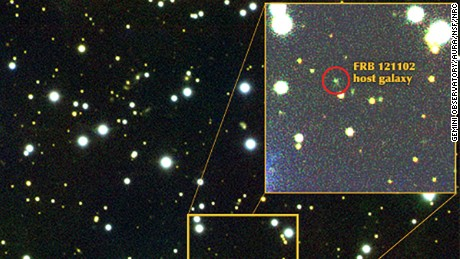 Visible-light image of the dwarf galaxy from which signal FRB121102 is emanating.