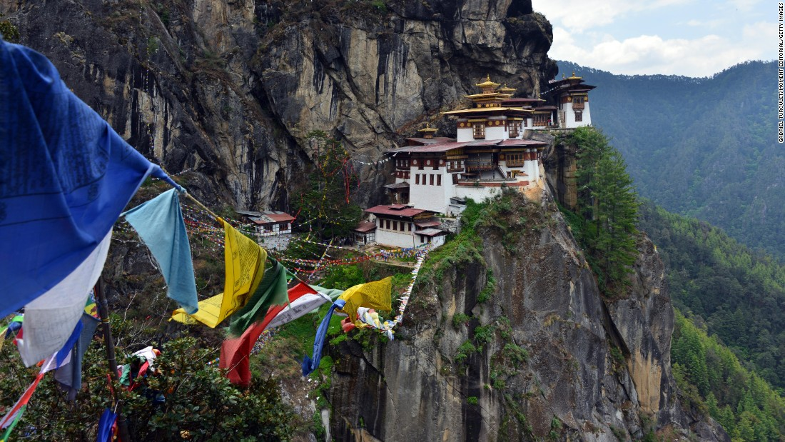 <strong>Bhutan -- </strong>The hike to Taktsang Monastery (Tiger's Nest), located on the side of a mountain overlooking Paro Valley in Bhutan, is the highlight of any trip to the country known for measuring its people's happiness.