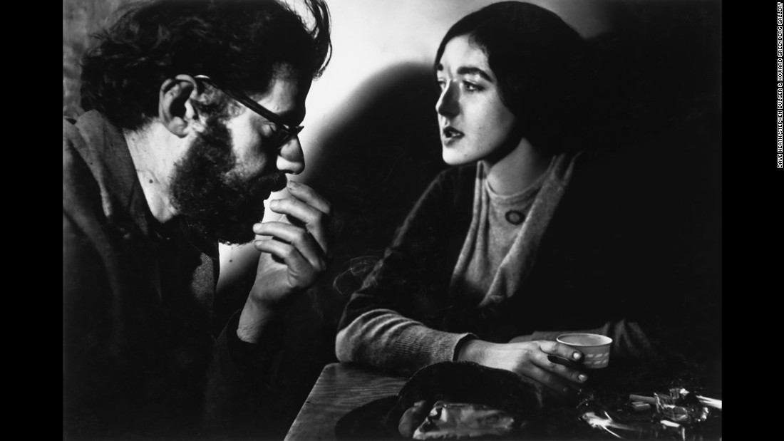 Poets Allen Ginsberg and Barbara Moraff share a table at the 7 Arts Coffee Gallery in 1959.