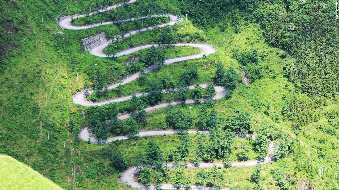 <strong>Zigzag road: </strong>The 24-bend or zigzag road snakes up a mountainside in southwest China's Guizhou province.