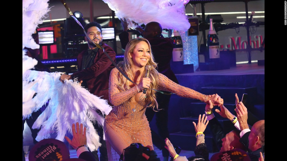 "Singer Mariah Carey performs at the New Year's Eve celebration in New York's Times Square. <a href=""http://www.cnn.com/2017/01/01/entertainment/mariah-carey-show-snag/index.html"" target=""_blank"">An audio track malfunctioned </a>while Carey was lip-syncing in front of a live audience."