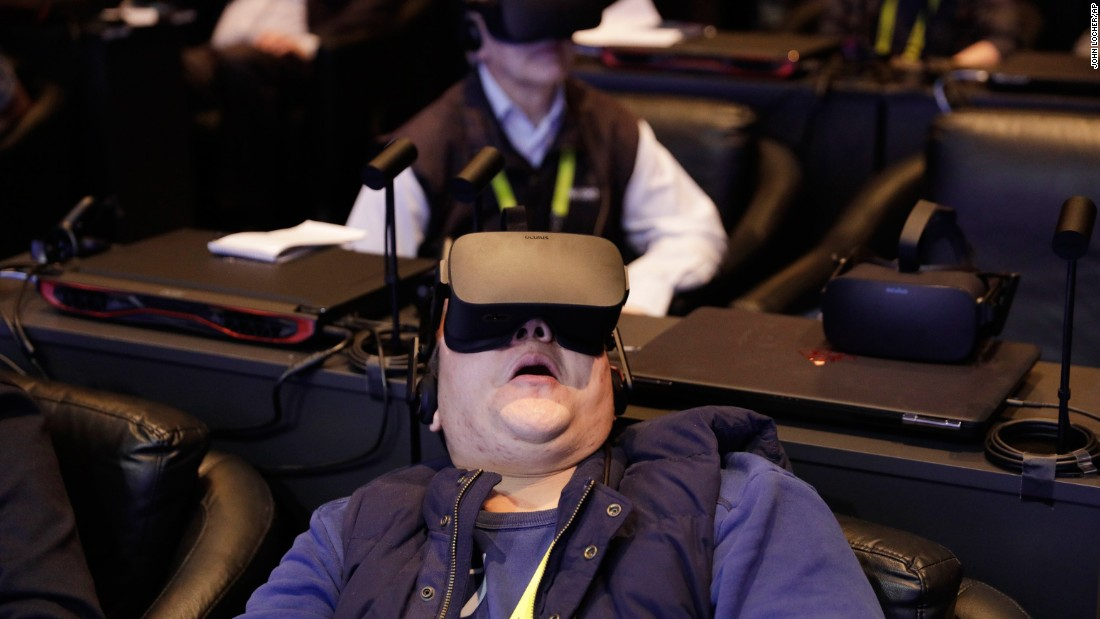 A man participates in a virtual-reality presentation during an Intel news conference in Las Vegas on Wednesday, January 4. The city is hosting CES, a trade show for consumer electronics, through January 8.