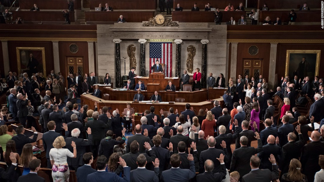 House Speaker Paul Ryan swears in members of the House as the 115th Congress convenes in Washington on Tuesday, January 3.