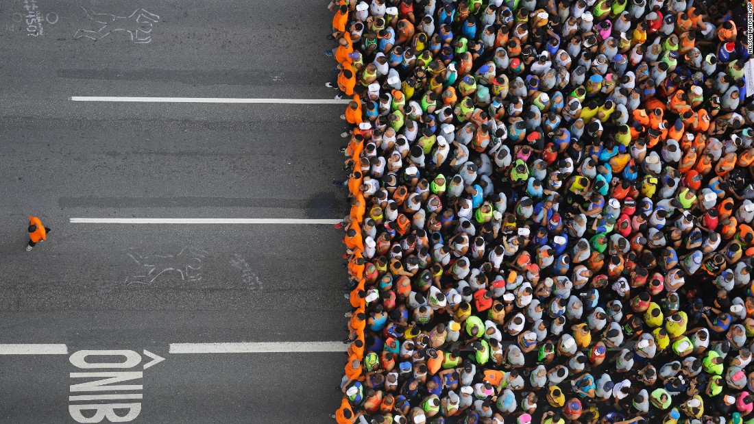 Runners wait to compete in the St. Silvester Road Race in Sao Paulo, Brazil, on Saturday, December 31.