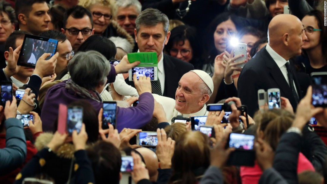 Pope Francis arrives at the Vatican to meet earthquake victims from Italy on Thursday, January 5.