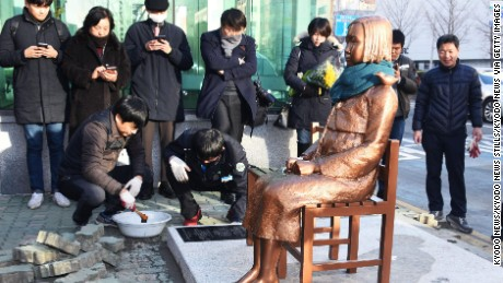 The statue outside Japan's consulate in Busan symbolizes women forced into wartime Japanese military brothels.