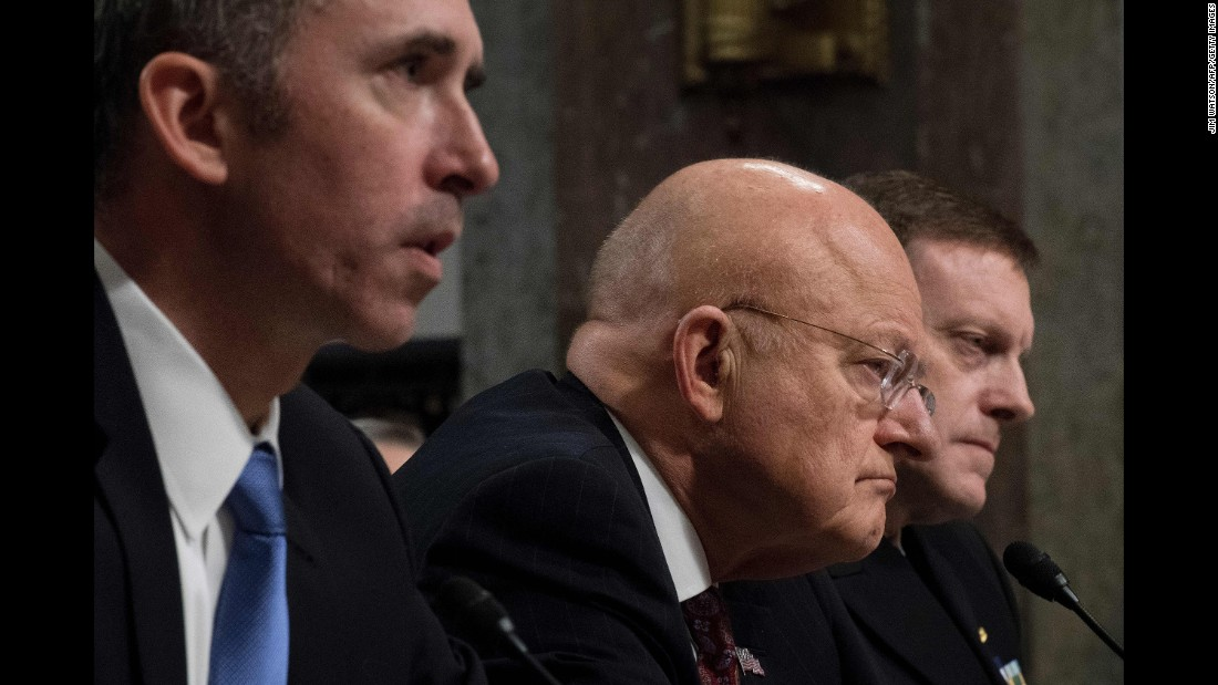 "Defense Undersecretary for Intelligence Marcel Lettre, left, Director of National Intelligence <a href=""http://www.cnn.com/2017/01/05/politics/russian-hacking-hearing-senate-republicans/"" target=""_blank"">James Clapper</a>, center, and National Security Agency Director Adm. Michael Rogers testify before the Senate Armed Services Committee on Capitol Hill on Thursday, January 5."