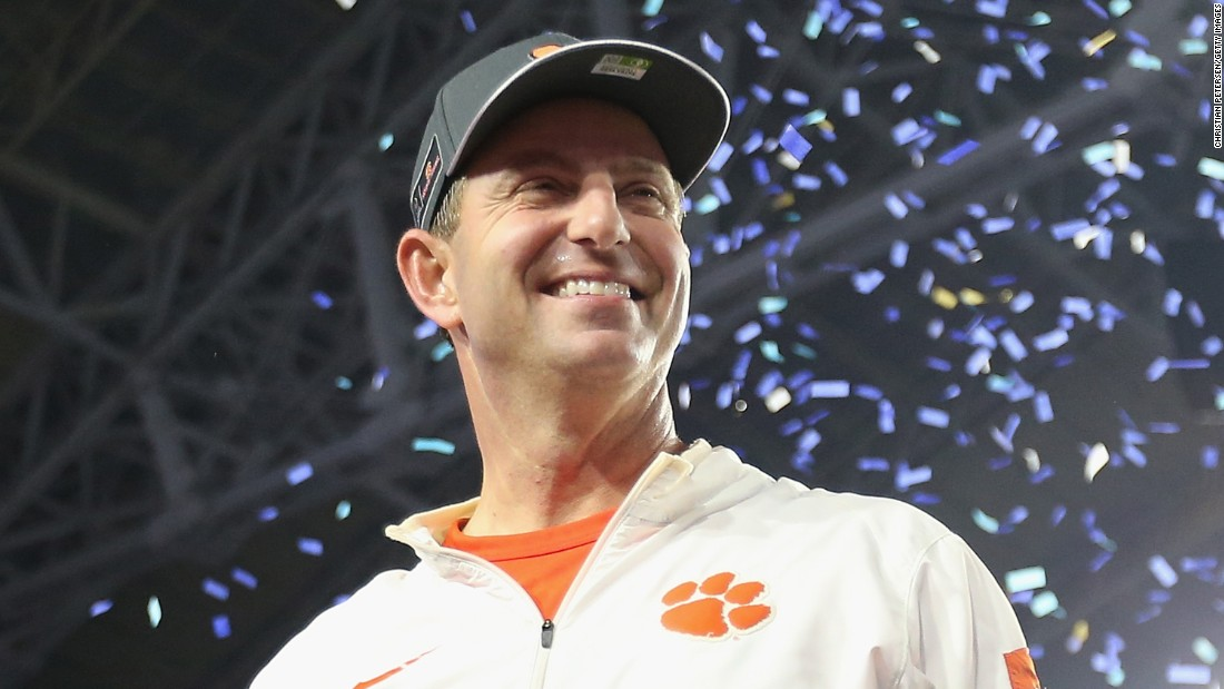 Clemson head coach Dabo Swinney celebrates his team's 31-0 win over Ohio State in the PlayStation Fiesta Bowl.
