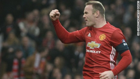Manchester United's Wayne Rooney celebrates scoring the opening goal against Reading to equal the club record of 249 goals set by Bobby Charlton.