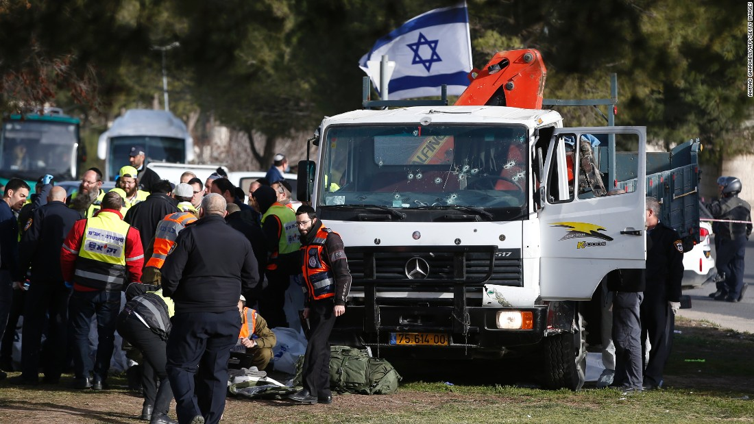 "A group of soldiers had gotten off a bus and were getting organized with their bags when ""the terrorist took the opportunity, ramming his truck into the group,"" Israel Police spokesman Micky Rosenfeld said."