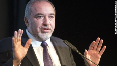Israeli Foreign Minister Avigdor Lieberman delivers a speech in 2014 in Tel Aviv.