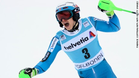 Norway's Henrik Kristoffersen celebrates his victory in the men's slalom race at the FIS Alpine Skiing World Cup on January 8, 2017 in Adelboden. / AFP / FABRICE COFFRINI        (Photo credit should read FABRICE COFFRINI/AFP/Getty Images)